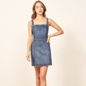 Reformation Denim Parker Mini Dress 14 Zip Back